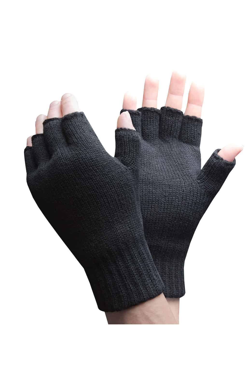 Black Mens Fingerless Gloves