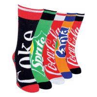 Coca Cola - 5 Pack Unisex Colourful Novelty Branded Logo Cotton Socks