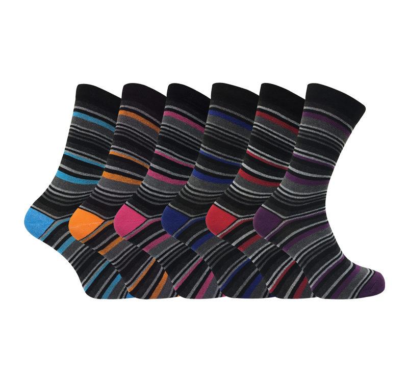 mens 6 pack striped argyle pattern cotton socks
