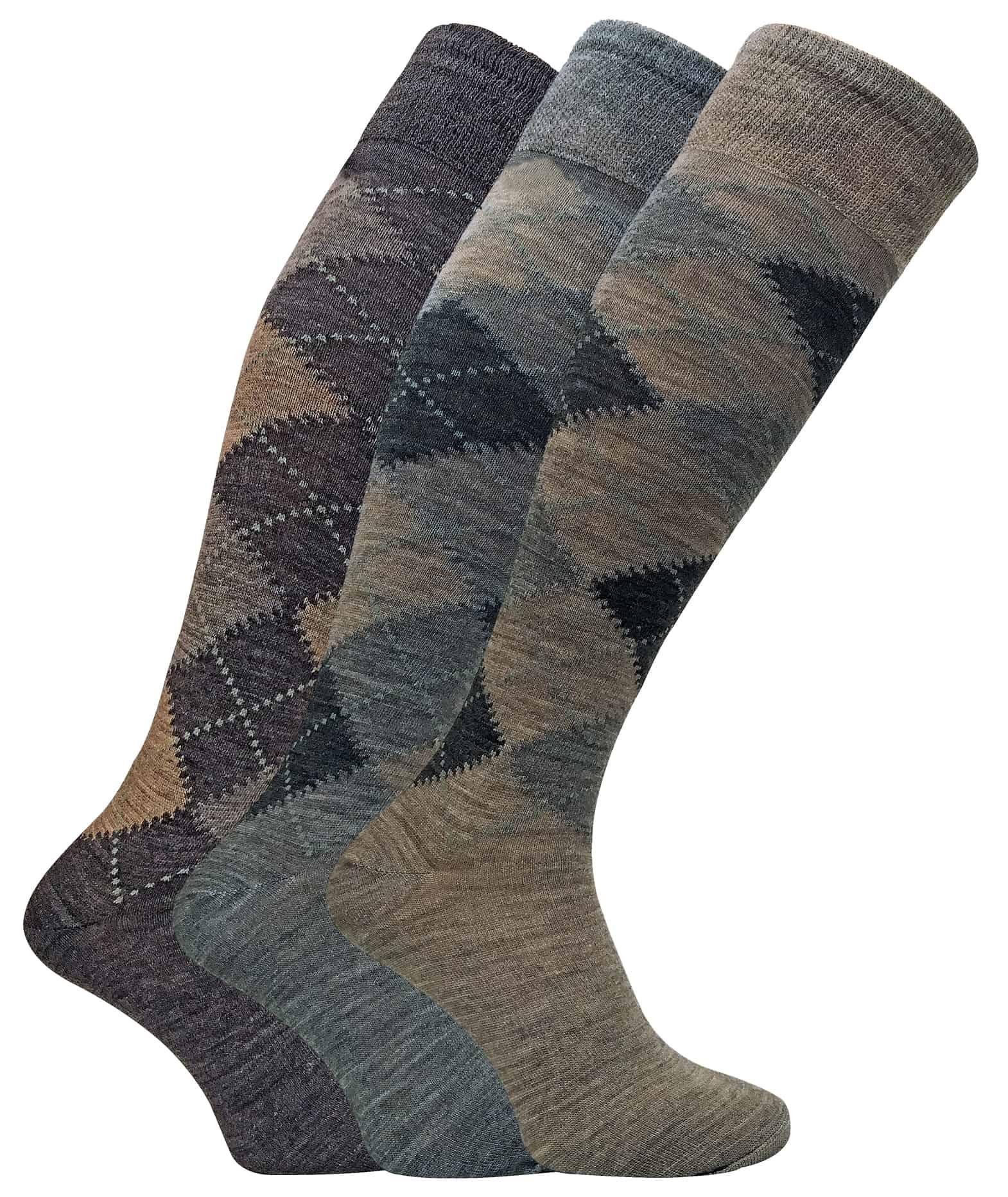 3 Pack Men's Extra Long Knee High Argyle Lambs Wool Socks - 6-11 UK, ELLW Brown