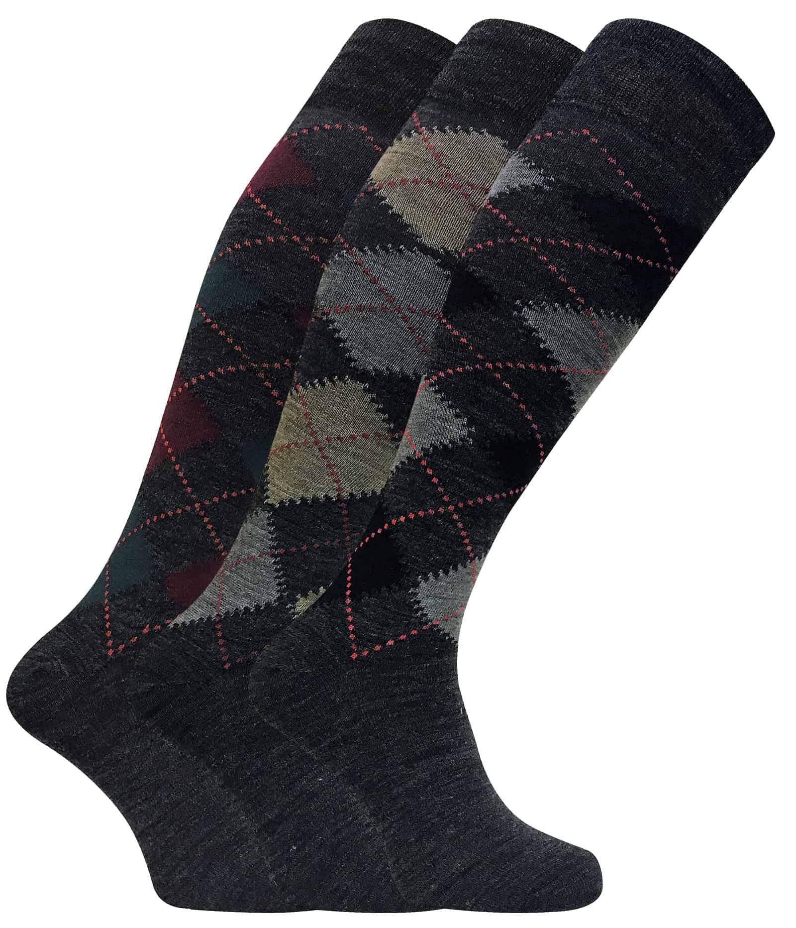 3 Pack Men's Extra Long Knee High Argyle Lambs Wool Socks - 6-11 UK, ELLW Grey