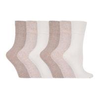 Gentle Grip - 6 Pack Ladies Non Elastic Plain Coloured Socks