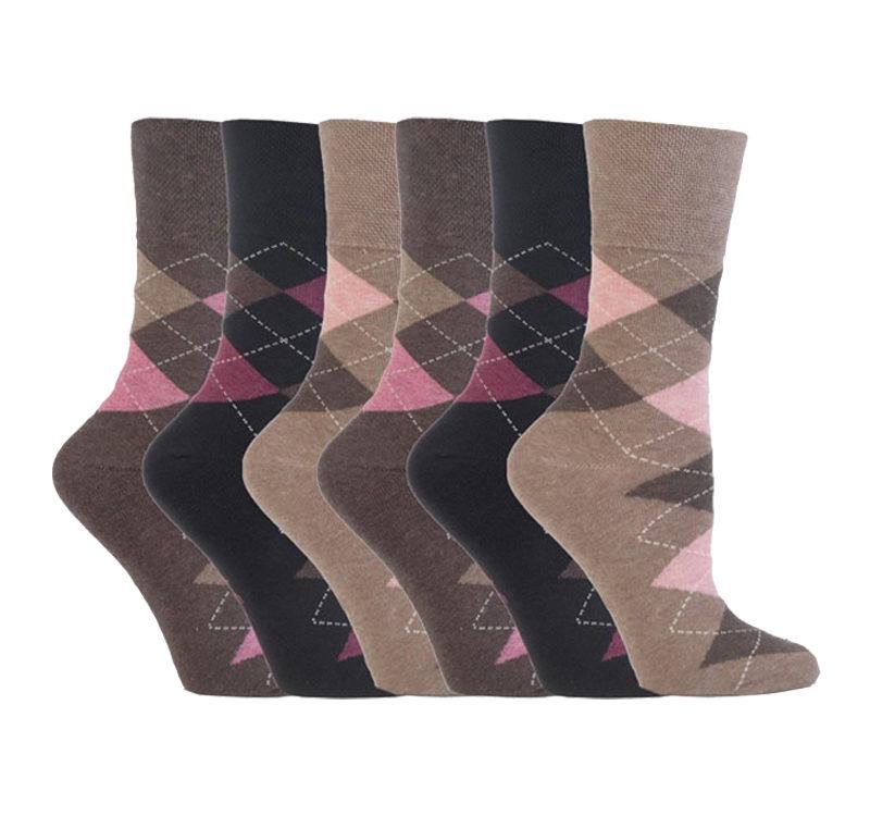Gentle Grip - 6 Pairs of Ladies Non Elastic Argyle Patterned Socks