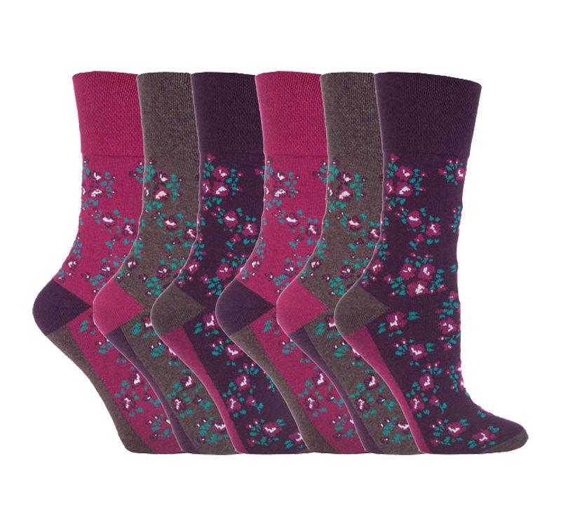 Gentle Grip - 6 Pairs Ladies Non Elastic Floral Patterned Socks