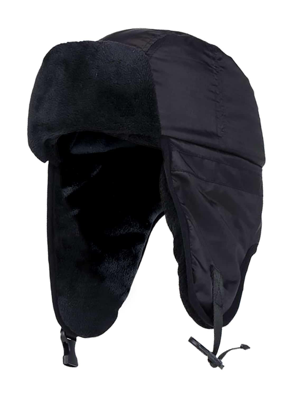 Men's Heat Holders Waterproof Fleece Lined Black Trapper Hat