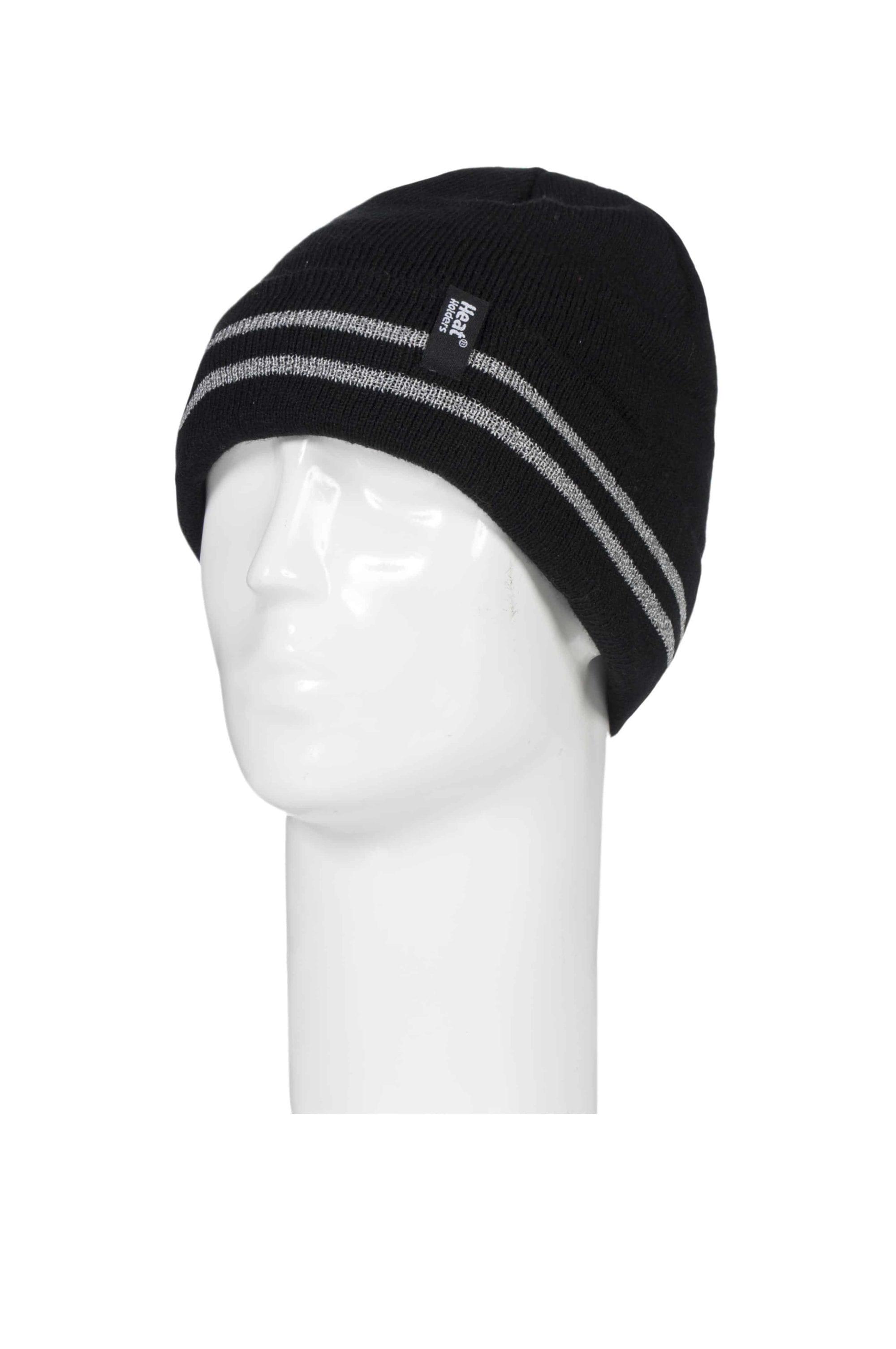 Men's Heat Holders Black Hi-Vis Reflective Thermal Knitted Turnover Hat