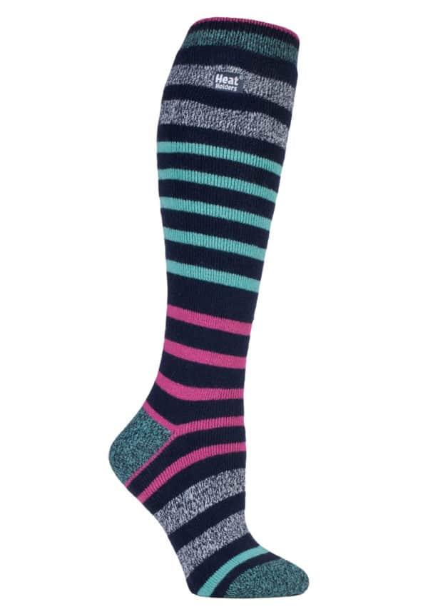 b8db49a1a4a Ladies Heat Holders Lite Extra Long Aqua Pink Striped Warm Casual Thermal  Socks