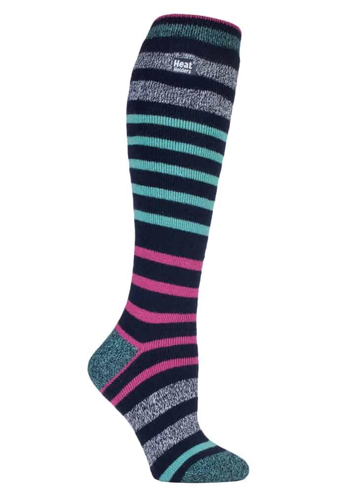 Ladies Heat Holders Lite Extra Long Aqua Pink Striped Warm Casual Thermal Socks