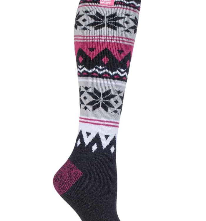 Ladies Heat Holders Lite Extra Long Pink Fair Isle Warm Casual Thermal Socks