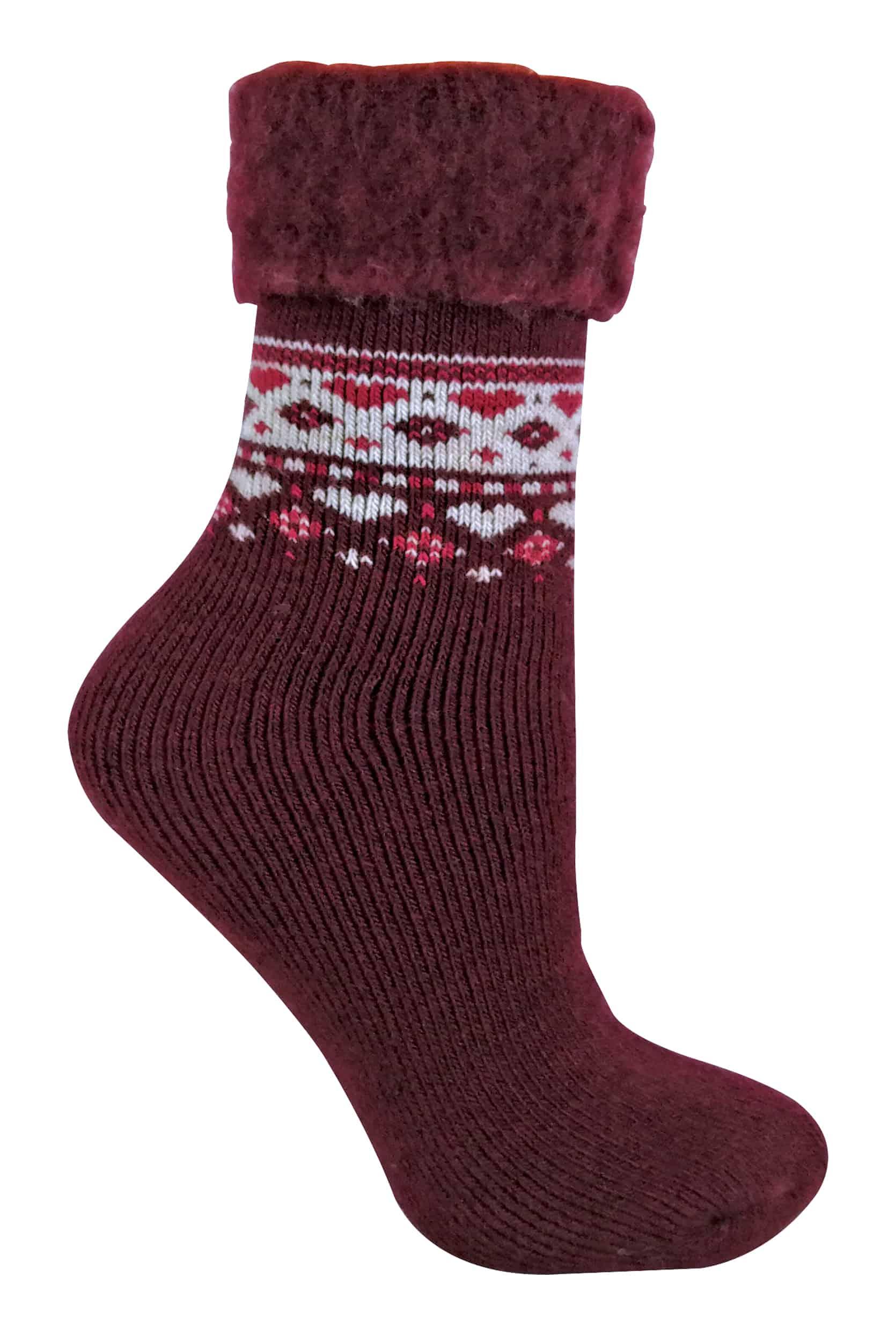 Ladies Patterned Wool Sock - Burgundy