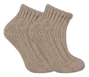 beige short wool ankle socks