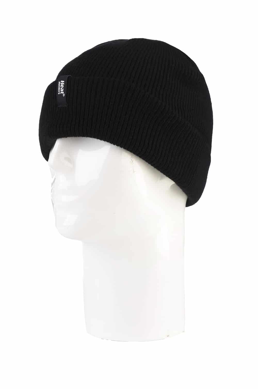 Men's Heat Holders Black Winter Fleece Lined Turnover Cuff Thermal Hat