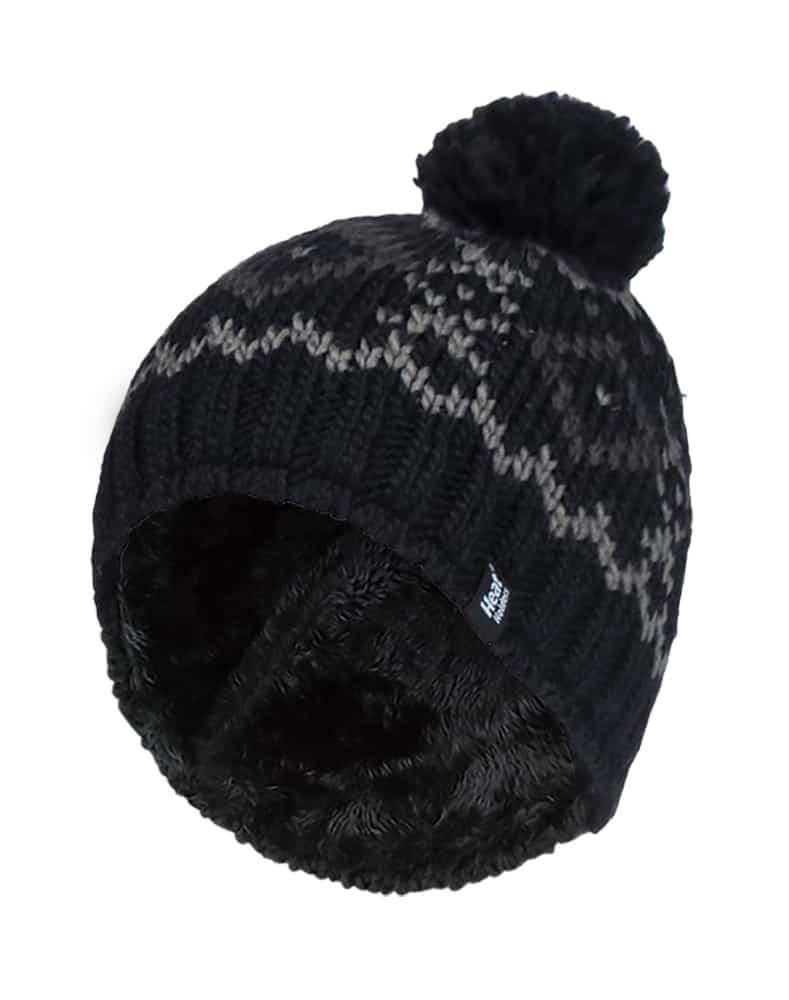 Men's Heat Holders Black Fair Isle Fleece Lined Thermal Bobble Hat with Pom Pom