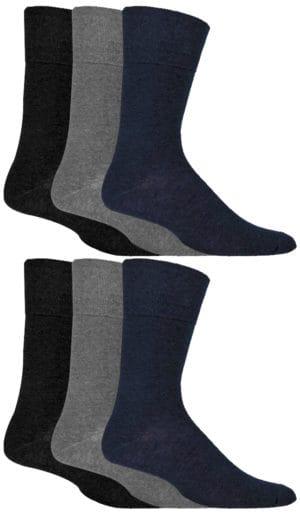 Mens Gentle Grip Diabetic Socks Black Navy Grey