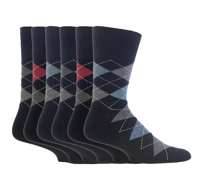 Gentle Grip - 6 Pack of Mens Non Elastic Argyle Patterned Socks to Help Poor Circulation