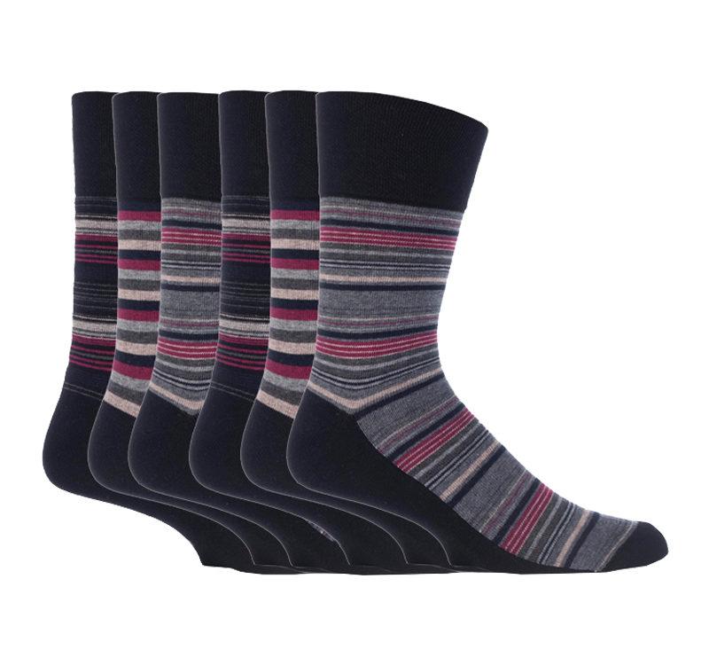 Gentle Grip - 6 Pack of Mens Non Elastic Stripe Patterned Socks