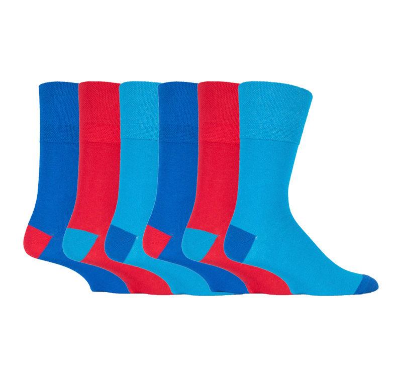 Gentle Grip - 6 Pairs of Mens Bright Coloured Non Elastic Cotton Socks