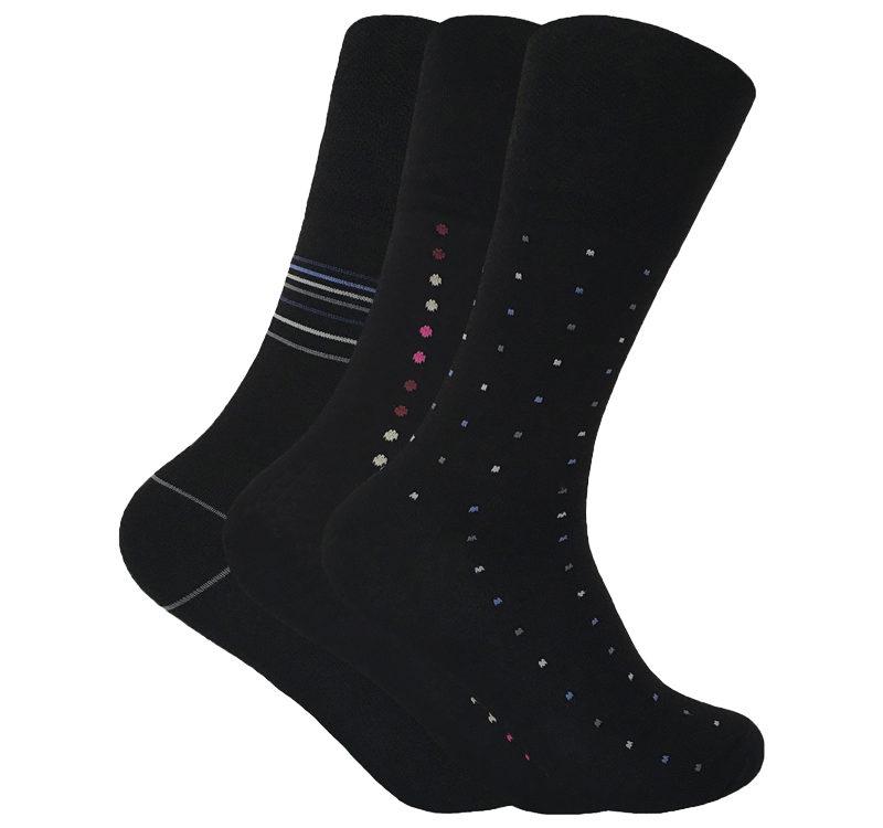 Mens 3 pairs loose wide non elastic top antibacterial anti sweat bamboo socks