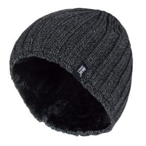 Men's Heat Holders Grey Winter Fleece Lined Ribbed Thermal Hat