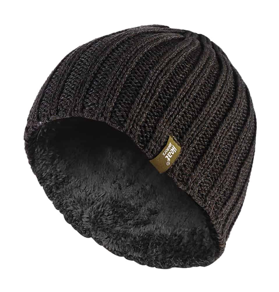 Men's Heat Holders Khaki Winter Fleece Lined Ribbed Thermal Hat