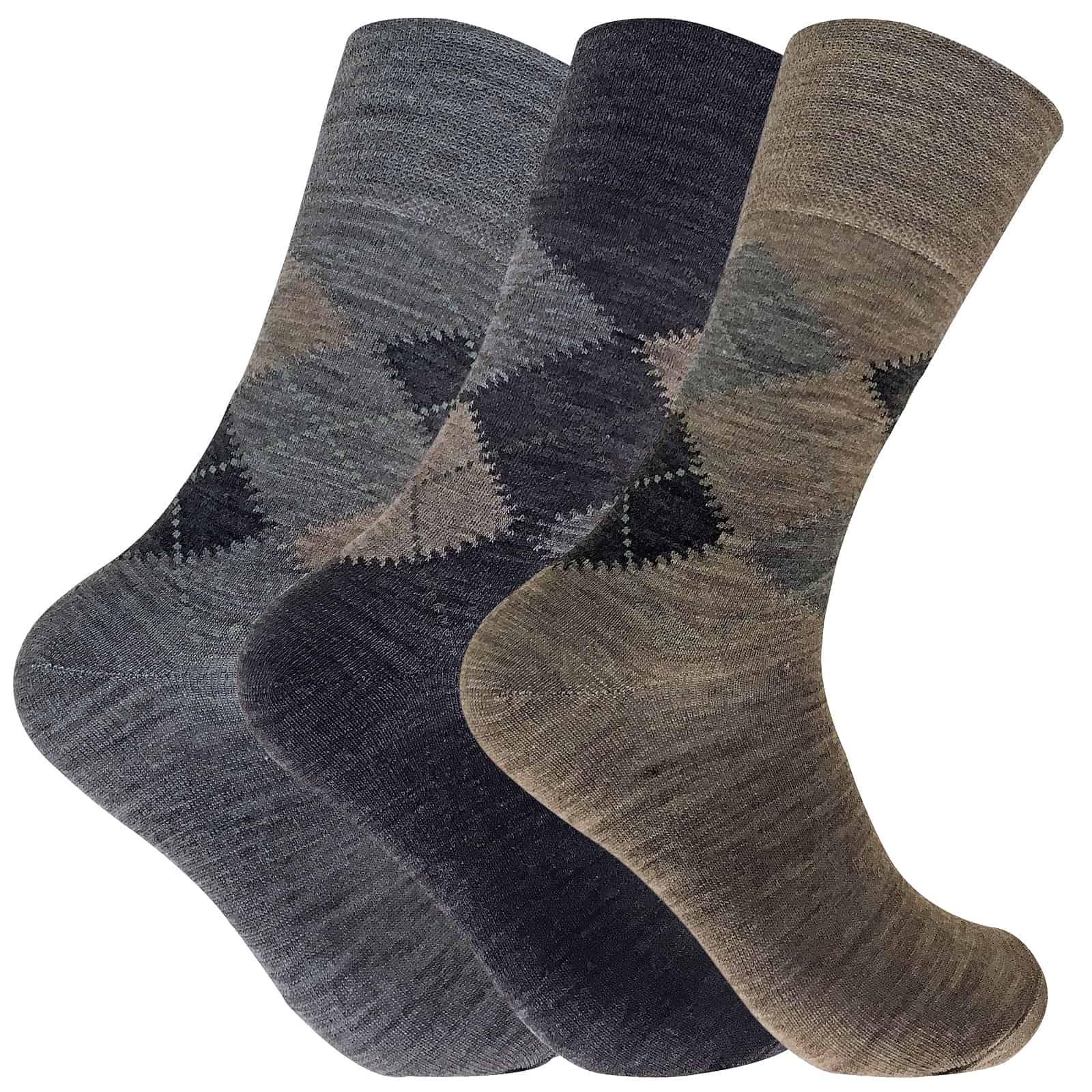 3 Pack Mens Warm Loose Non Elastic Lambs Wool Argyle Pattern Socks for Poor Circulation - 6-11 UK, SE049 Brown