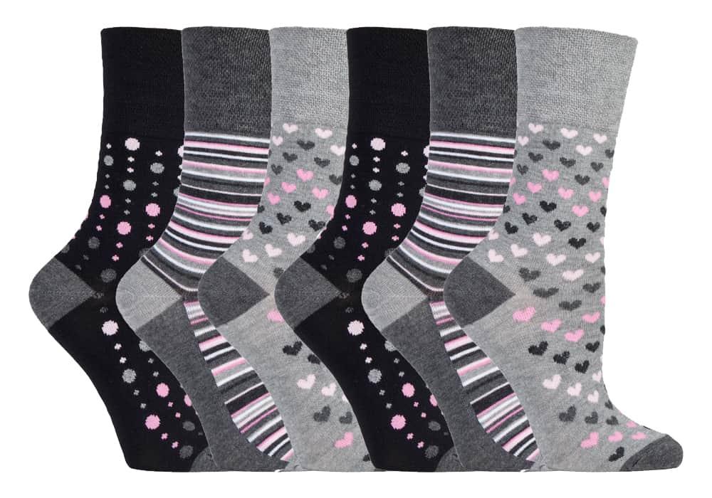 6 Ladies Gentle Grip® Bamboo Blend Non Elastic Socks UK 4-8