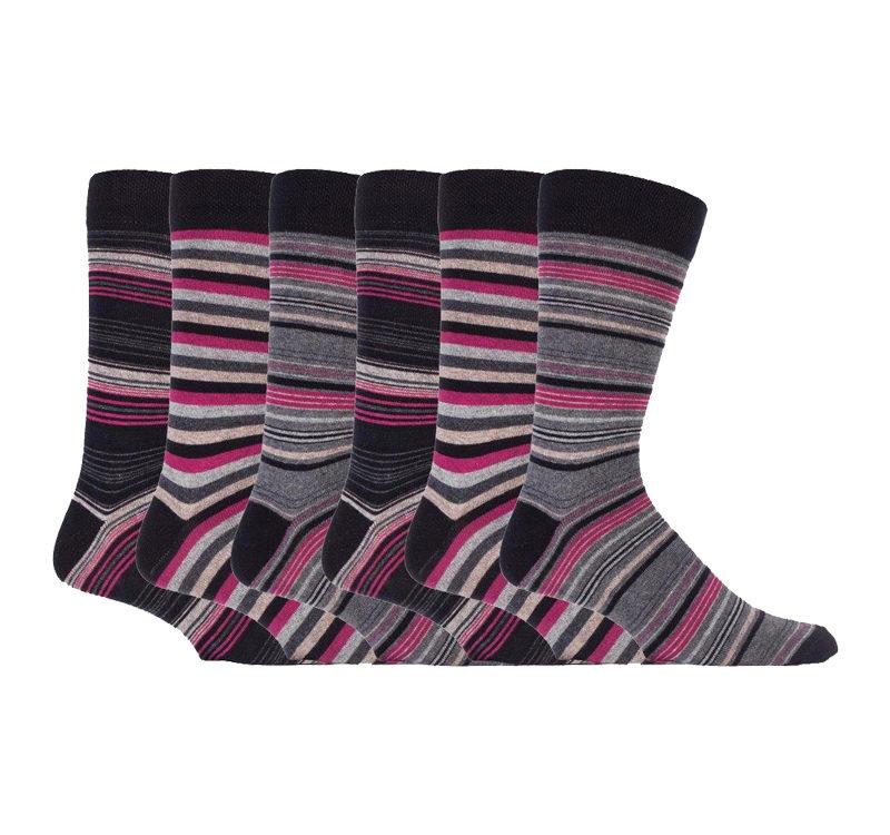 mens 6 pairs luxury striped cotton socks
