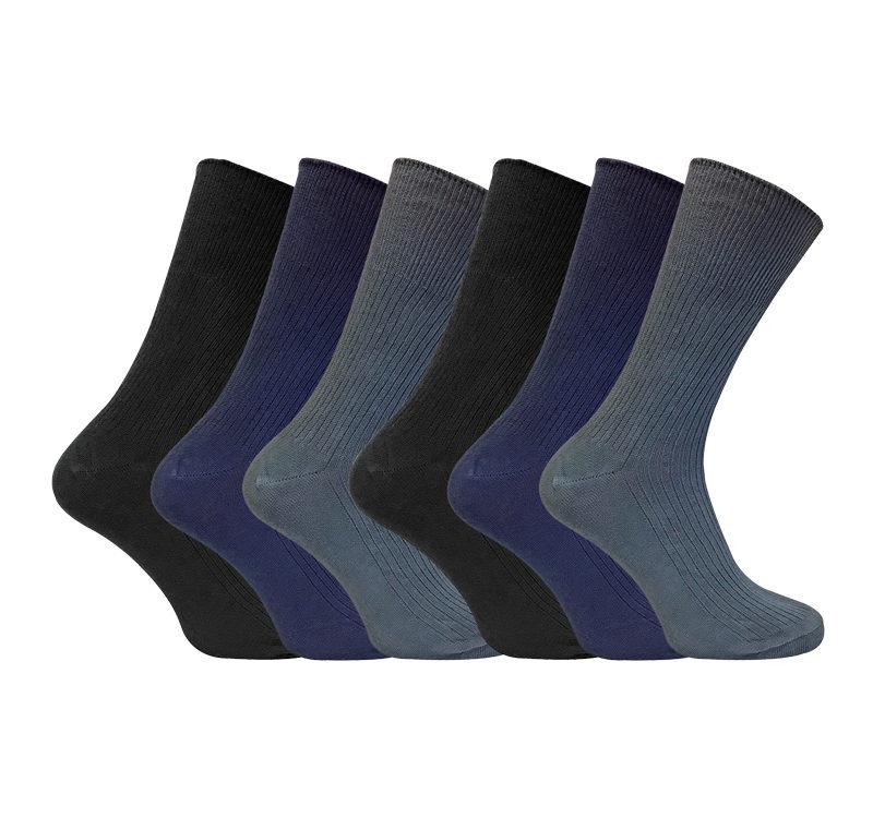 mens 6 pack non elastic cotton socks
