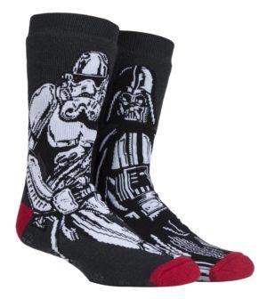 Mens Star Wars Slipper Socks y Heat Holders. Darth Vadar and Storm Trooper Style.