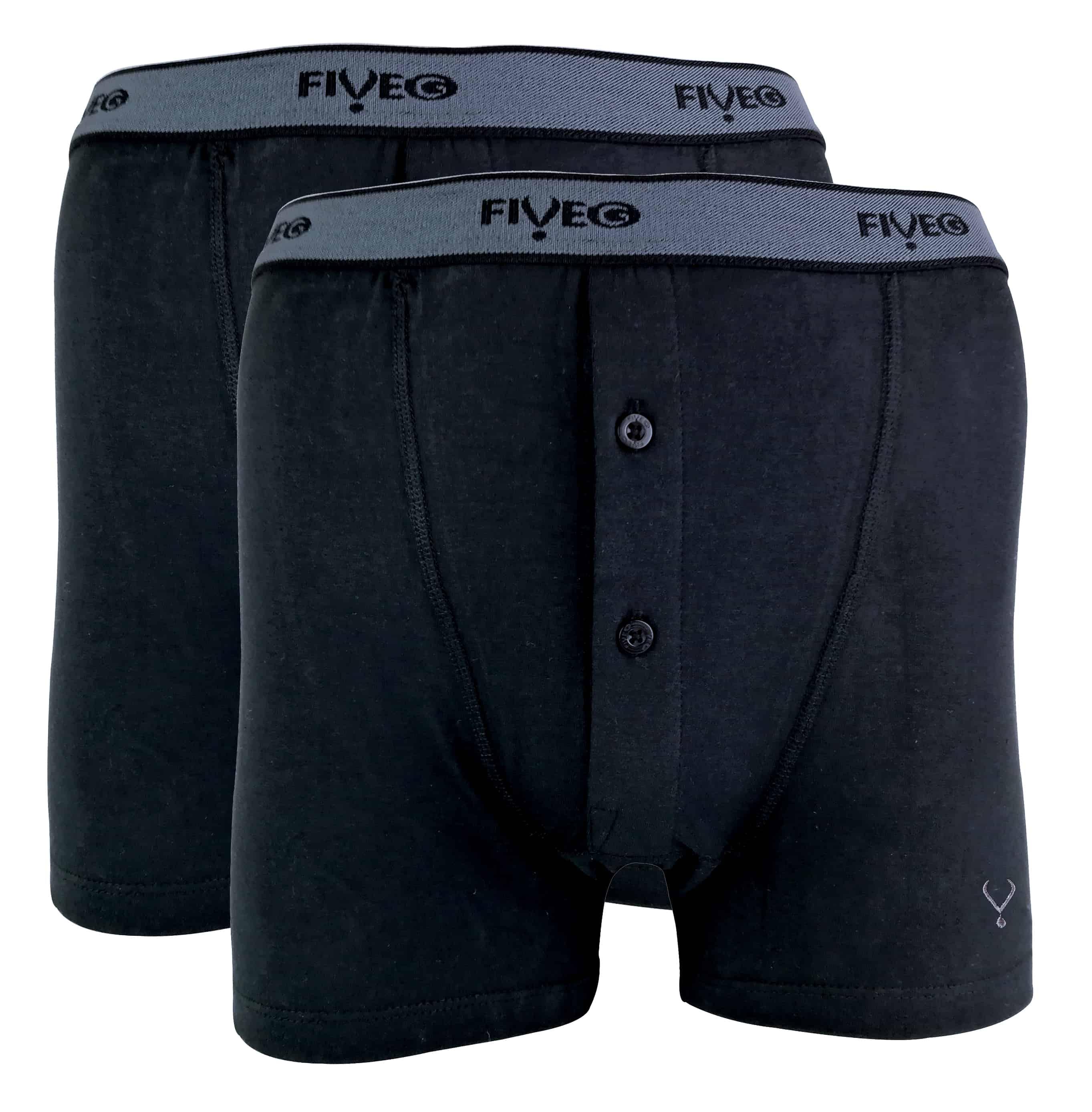 FiveG - 2 Pack Mens Breathable Button Fly Cotton Rich Underwear Boxershorts - Large (36-38