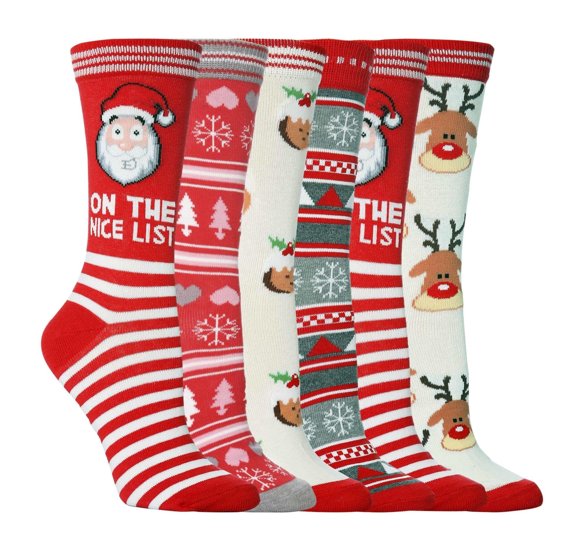 LADIES COTTON RICH CHRISTMAS DESIGN SOCKS GIRLS XMAS FUN GIFT NOVELTY SOCKS