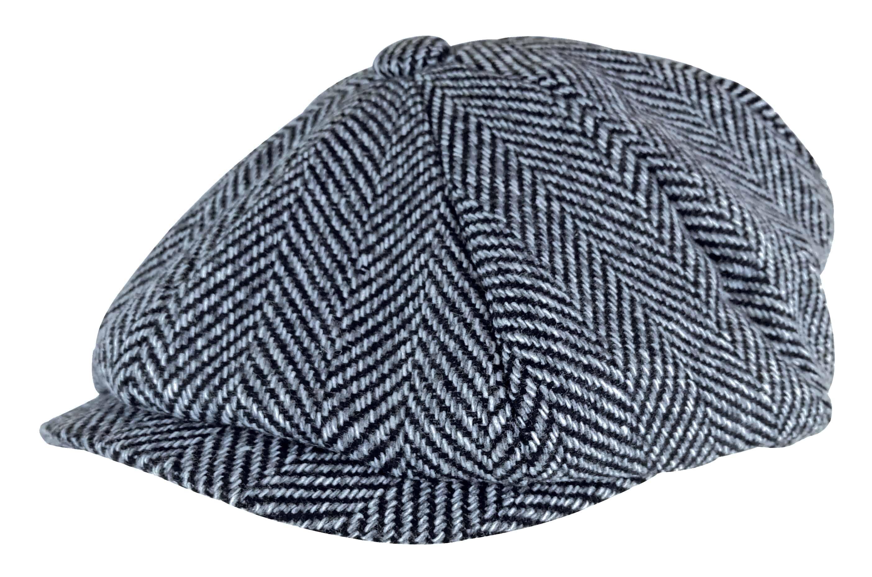 a7e28eaea Mens Herringbone Pattern Thinsulate Fleece Lined Winter Wool Newsboy Hat Cap