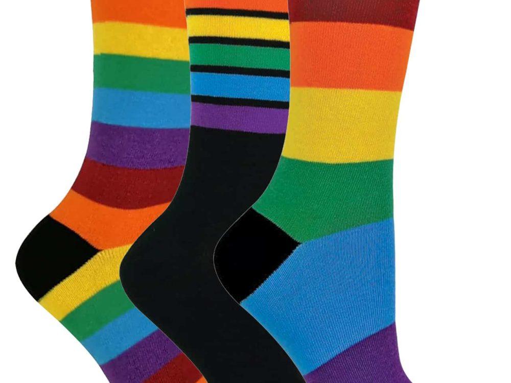 Ladies Cotton Striped Rainbow Socks Size 4-7 UK.