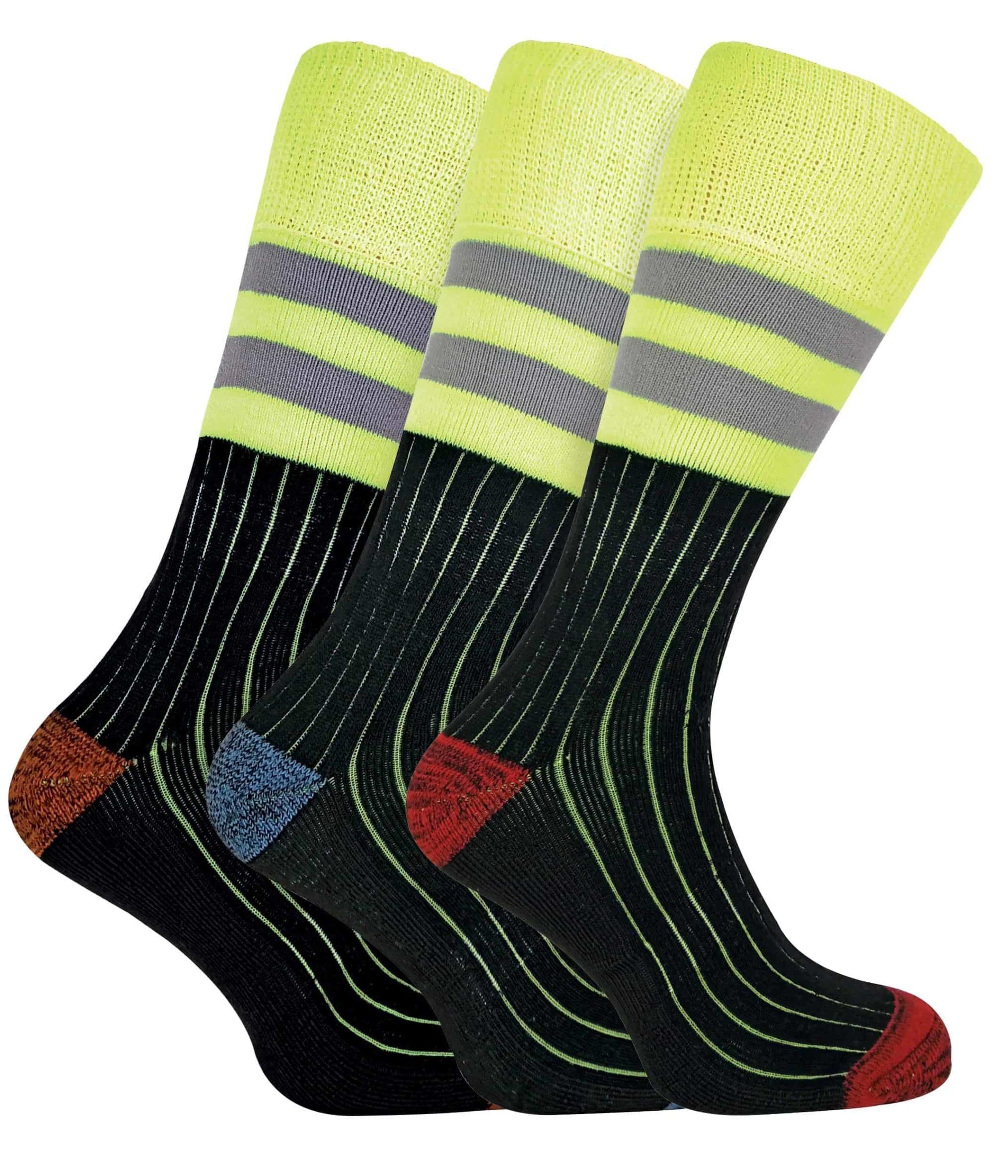Mens Heavy Duty Work Boot Socks Reinforced Heel Toe 3 Pairs Cushioned Sports ...