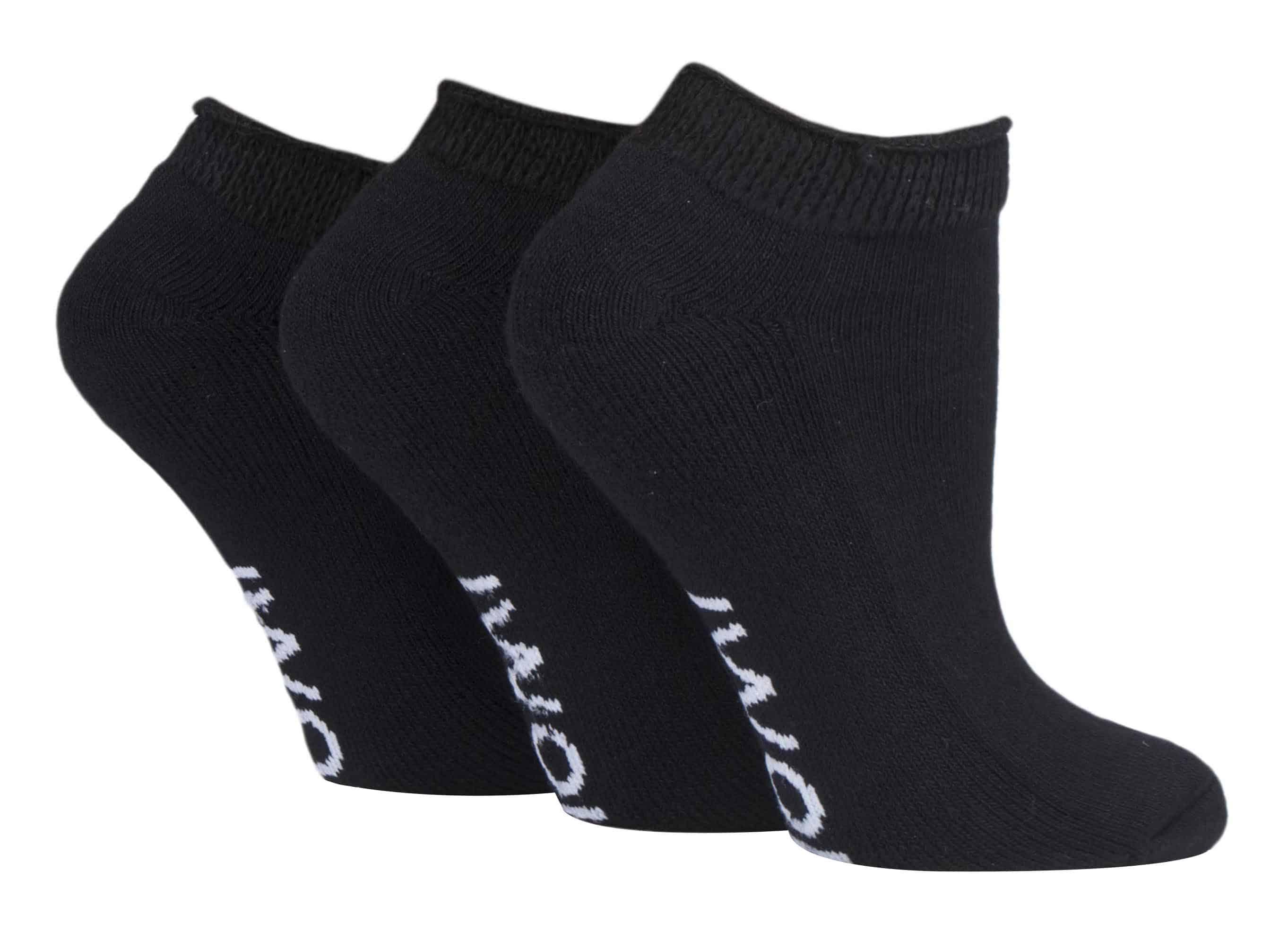 LADIES BLACK IOMI TRAINER SOCKS LEG SHOTS