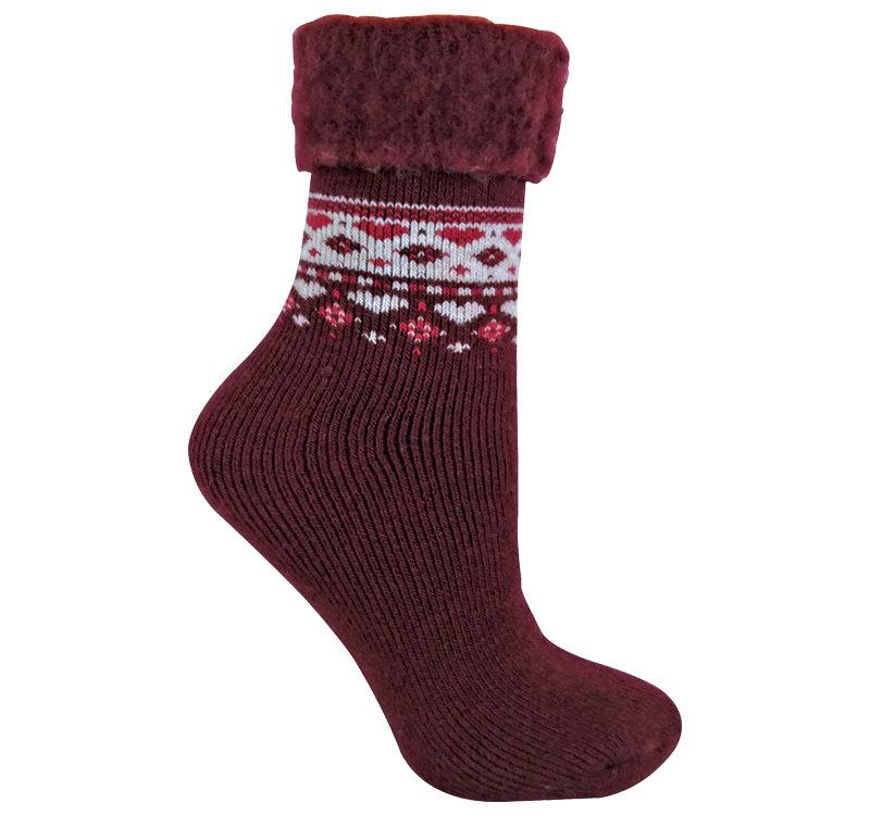 Ladies Patterned Thermal Wool Blend Bed Socks