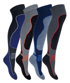 758b398f0 4 Pairs Mens Extra Warm Long Knee High Colourful Winter Wool Blend Ski Socks