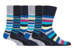6 Pairs Ladies Non Elastic Gentle Grip Wide Loose Top Patterned Cotton Socks