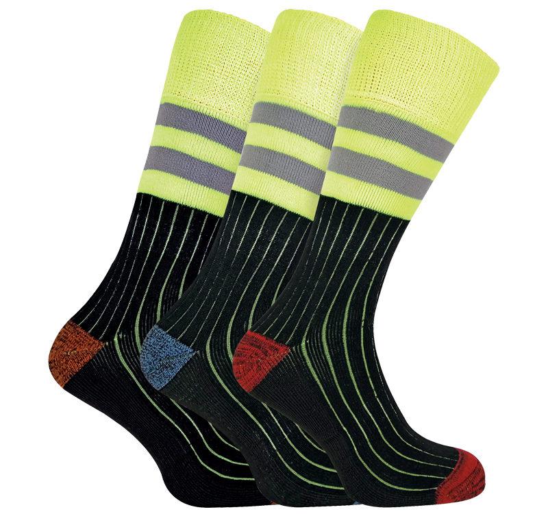 3 Pairs Mens Reinforced Heavy Duty Cotton Hi Viz Work Socks for Steel Toe Boots