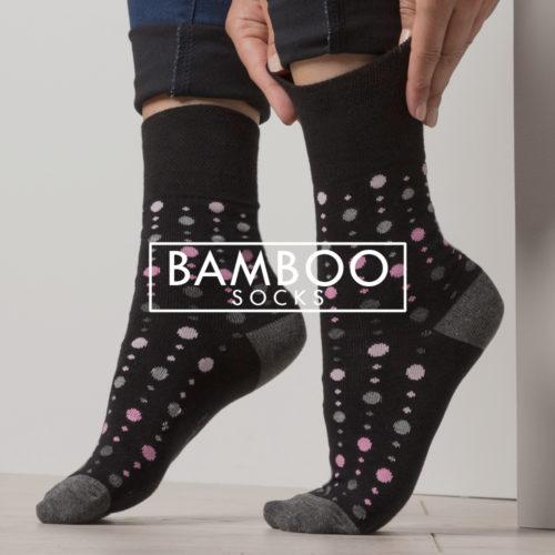 bamboo socks - ladies polka dot black bamboo socks - gentle grip non elastic socks
