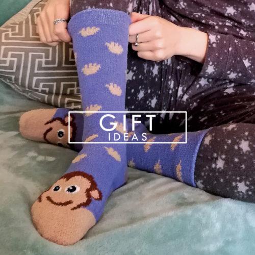 ladies womens moneky face slipper socks with grips animals novelty gripper socks