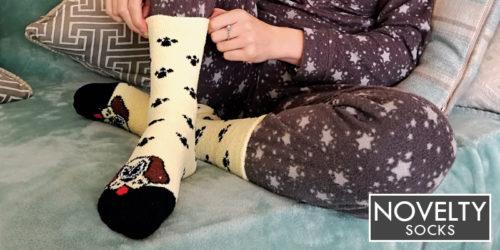 ladies novelty socks - ladies dog slipper socks - sock snob uk