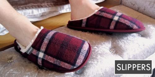 mens slippers - mens red checkered slippers - dunlop - sock snob uk