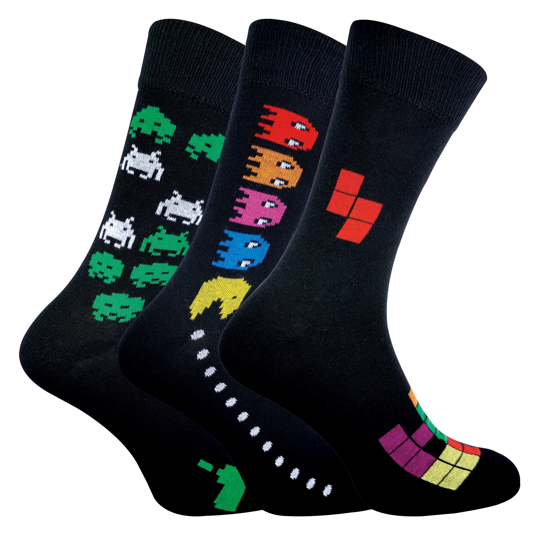 3 Pack Mens Retro Gaming Socks - 6-11, Pac Man / Space Invaders / Tetris