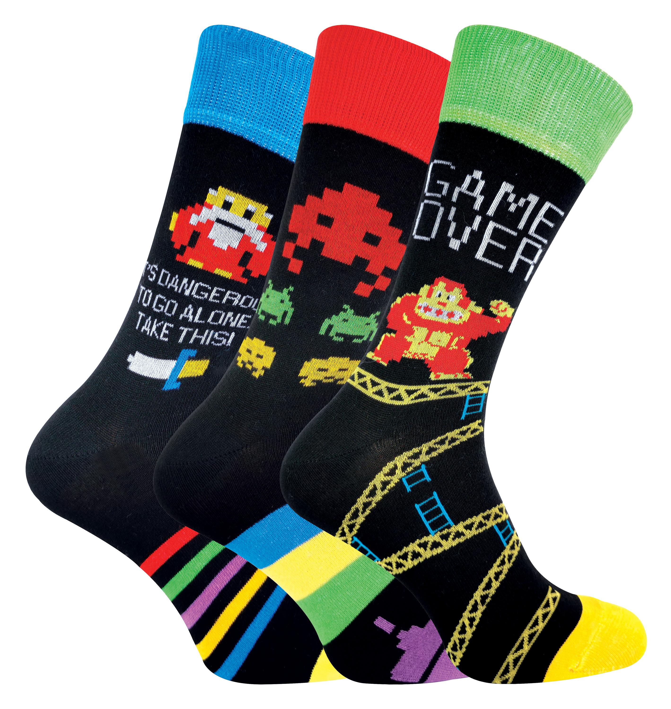 3 Pack Mens Retro Gaming Socks - 6-11, Zelda / DK / Space Invaders