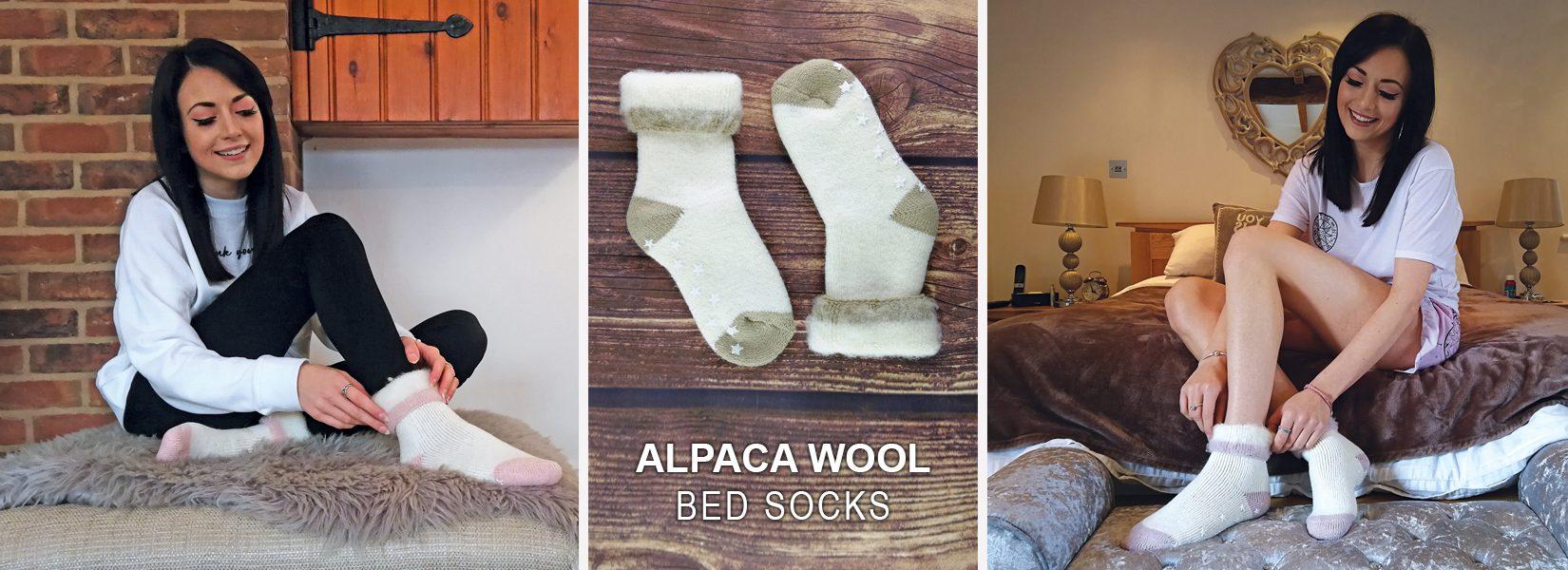 alpaca wool bed socks - warm indoor slipper socks for winter